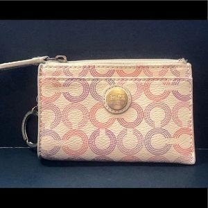Coach White Multi Leather Keychain Wallet